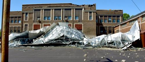 Storm damage to building.